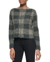 Rag & Bone Cammie Checkpattern Knit Sweater Dusty Olive Medium - Lyst