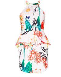 Pixie Market Tropical Peplum Dress - Lyst