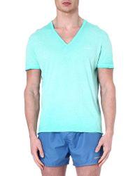 DSquared2 Vneck Splatterdetail Tshirt Green - Lyst