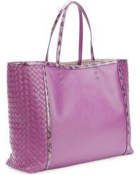 Bottega Veneta Medium Snake Napa Tote Bag Purple - Lyst