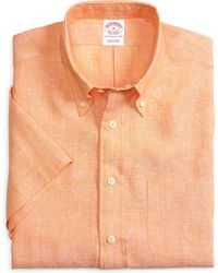 Brooks Brothers Regular Fit Solid Shortsleeve Linen Sport Shirt - Lyst