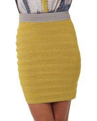 Yigal Azrouël Metallic Knit Bandage Skirt In Pistachio yellow - Lyst