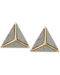 Steve Madden Goldtone Glitter Pyramid Stud Earrings - Lyst