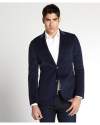 Gucci Navy Cotton Corduroy Blazer - Lyst