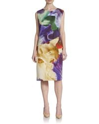 Oscar de la Renta Watercolorprint Shift Dress - Lyst