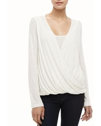 Splendid Draped Crossfront Top - Lyst
