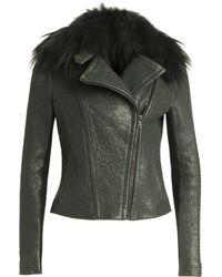 Yigal Azrouël | Fur Collar Leather Jacket | Lyst