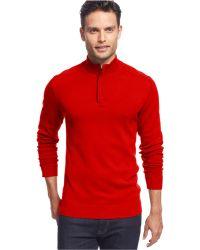 Alfani - Big And Tall Slim Solid Quarter-zip Sweater - Lyst