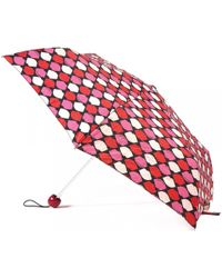 Lulu Guinness | Superslim Pink Lips Grid Umbrella | Lyst