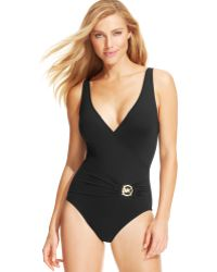 Michael Kors Michael Surplice-Neck Logo One-Piece Swimsuit - Lyst