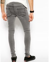 Asos Extreme Super Skinny Jeans In Light Grey in Gray for Men | Lyst