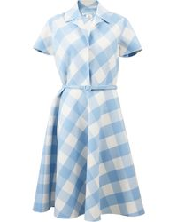 Oscar de la Renta Buffalo Check Collared Dress - Lyst