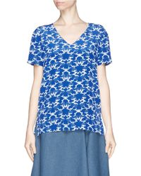 Stella McCartney Cloud Print Bow Back Silk Top blue - Lyst