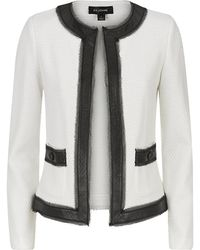 St. John Leather Trim Jacket - Lyst