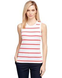 Brooks Brothers Sleeveless Stripe Knit pink - Lyst