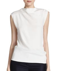 3.1 Phillip Lim Silk Draped Asymmetrical Top - Lyst