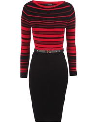 Jane Norman Striped Knitted Dress - Lyst