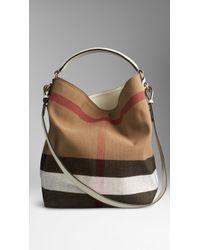 Burberry Medium Canvas Check Hobo Bag - Lyst