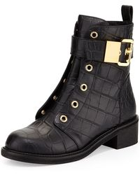 Giuseppe Zanotti Crocembossed Leather Moto Boot - Lyst