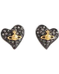 Vivienne Westwood Anglomania - Crystal Embellished Heart Stud Earrings - Lyst