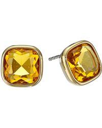 Michael Kors Botanicals Gold & Blue Stone Stud Earring - Lyst