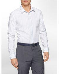 Calvin Klein White Label Slim Fit Varigated Fine Stripe Cotton Shirt - Lyst