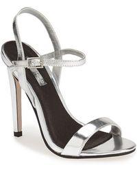 Topshop 'Rolo' Ankle Strap Sandal silver - Lyst