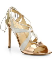Alejandro Ingelmo Franca Metallic Leather Suede Sandals - Lyst