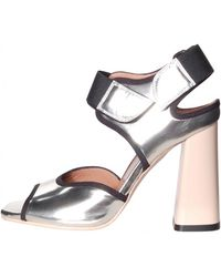 Marni | High Block Heel Sandal In Silver | Lyst
