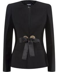 Alexander McQueen Satin Bow Wool and Velvet Jacket - Lyst