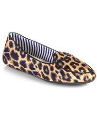 Charles Philip Shanghai Satin Leopard-print Smoking Slippers - Lyst