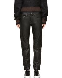 Rag & Bone Black Leather Dre Jeans - Lyst