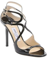 Jimmy Choo Black Patent Leather 'Lang' Strappy Sandals - Lyst