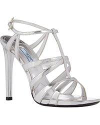 Prada Metallic Strappy Sandals - Lyst
