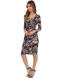 Calvin Klein 34 Sleeve Side Ruched Printed Dress - Lyst