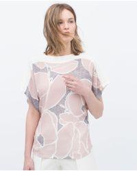 Zara Low-Back Pink Flower T-Shirt - Lyst