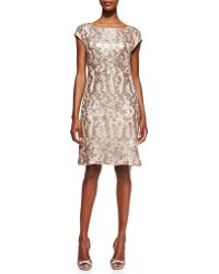 Sue Wong Patterned Sequined Overlay Cocktail Dress - Lyst
