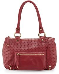 Linea Pelle Dylan Perforated Leather Duffle Tote - Lyst