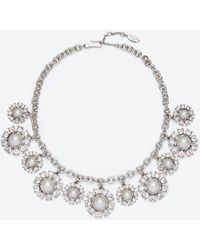 Ann Taylor Floral Pearlized Stone Necklace silver - Lyst