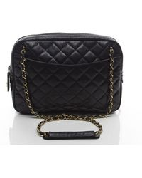 Chanel Preowned Black Quilted Camera Bag - Lyst