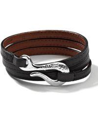 Ippolita - Mens Pelle Sterlinghook Leather 3wrap Bracelet in Black - Lyst