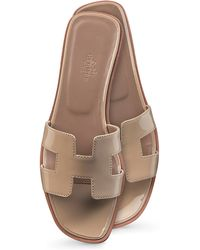 Hermes Oran Box Leather Sandals - Lyst