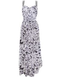 Matthew Williamson Mosaic Chiffon Embroidered Draped Bustier Gown - Lyst