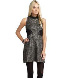 BCBGeneration Mockneck Metallic Jacquard Dress - Lyst
