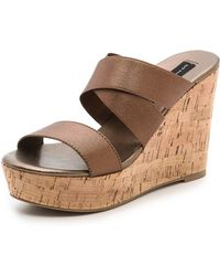 Steven Freezee Cork Wedge Sandals - Lyst