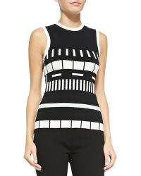 Narciso Rodriguez Sleeveless Reversible Graphic-Striped Top - Lyst