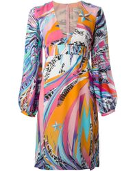 Emilio Pucci Abstract Print V-Neck Dress - Lyst