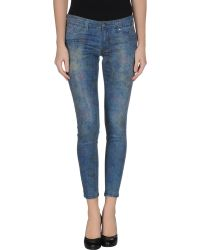 S.o.s By Orza Studio Blue Denim Trousers - Lyst