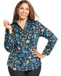 Jones New York Signature Plus Size Floralprint Shirt - Lyst