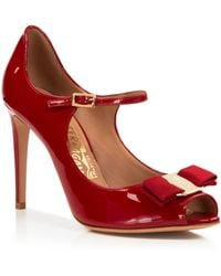 Ferragamo Open Toe Mary Jane Ankle Strap Pumps - Mood - Lyst